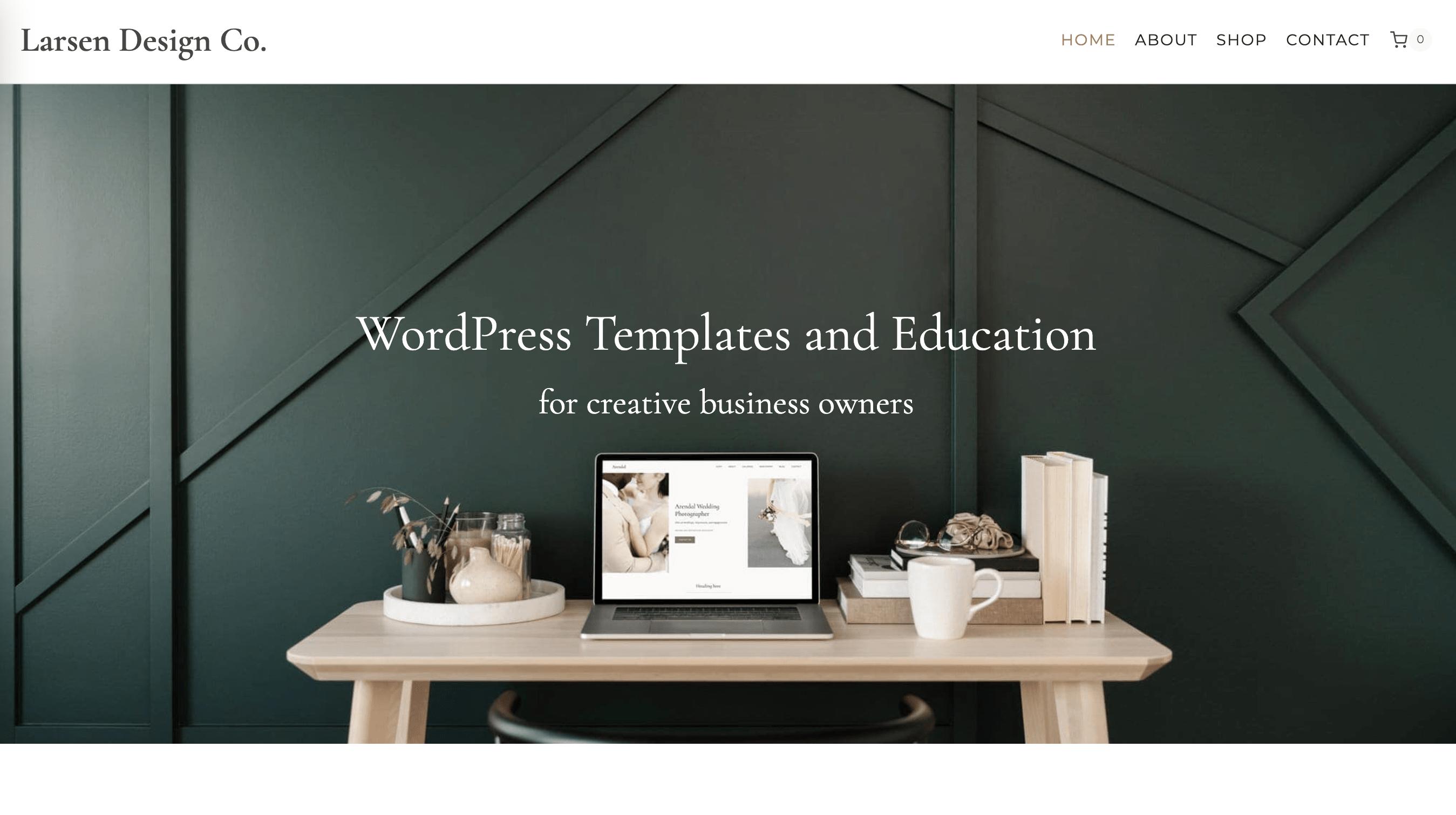 Screenshot of Larsen Design Co. website built on Kadence