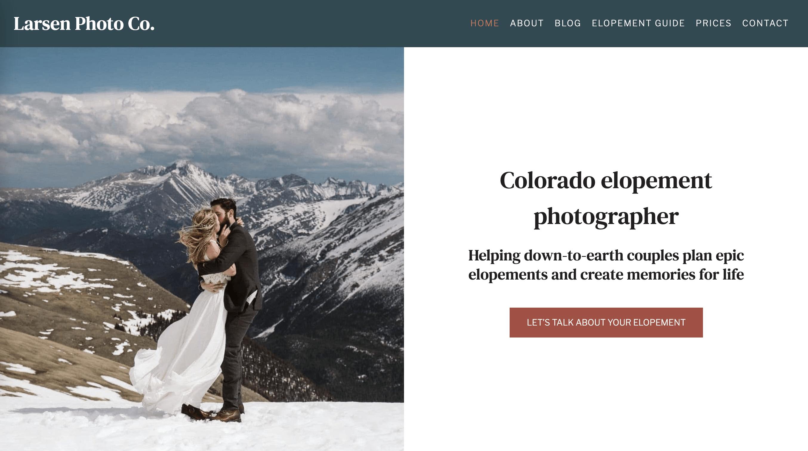 Screenshot of Larsen Photo Co. website on Kadence